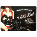 "Carte Postale Métallique Harley Davidson ""Let's Ride"""