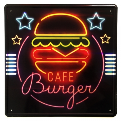 "Plaque Métallique Néons ""Burger"""
