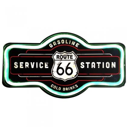 """Grande Plaque Métallique Route 66 """"Service Station"""""""