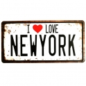 "Plaque Métallique New York ""I Love NY"" noire"