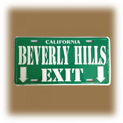 "Plaque Métallique ""Beverly Hills Exit"" verte"