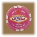 Jeton de casino aimanté Las Vegas $1000 rose