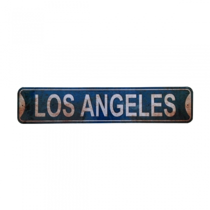 "Plaque Métallique ""61 cms"" Los Angeles vieillie"
