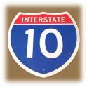 """Plaque Métallique """"Interstate 10"""""""