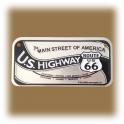"Petite Plaque Métallique Route 66 ""US Highway"""